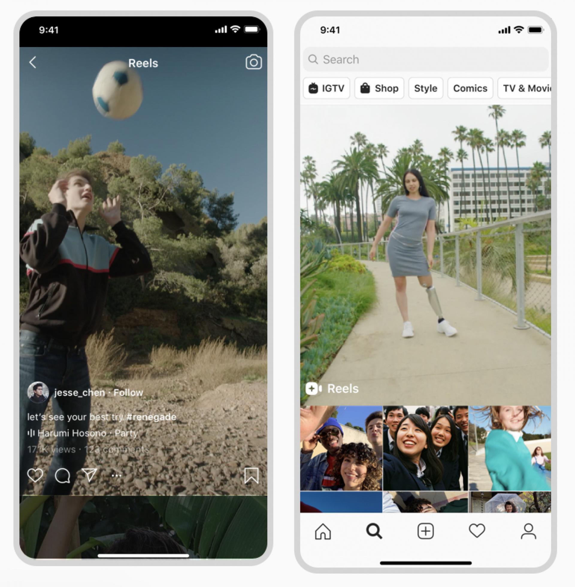 """Instagram Reels Feature – Beispiel """"Entdecken"""" Tab"""