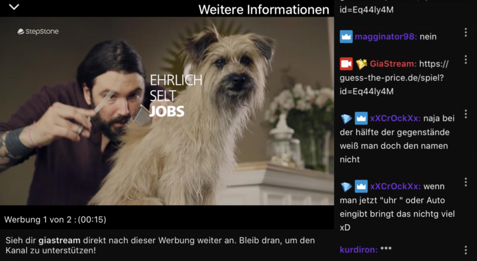 Twitch-Werbeblock innerhalb eines Streams