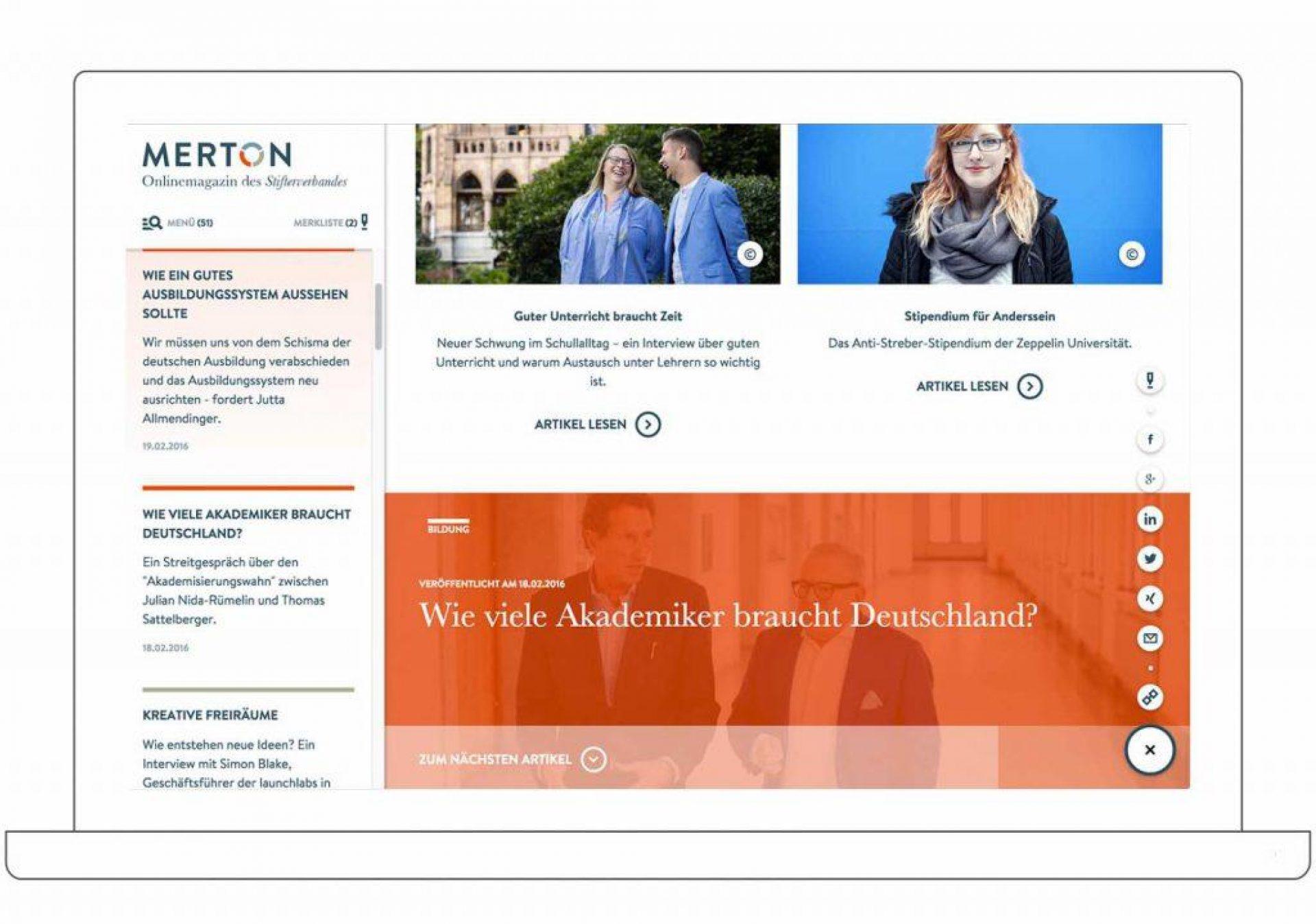 Onlinemagazin MERTON Desktop WEB