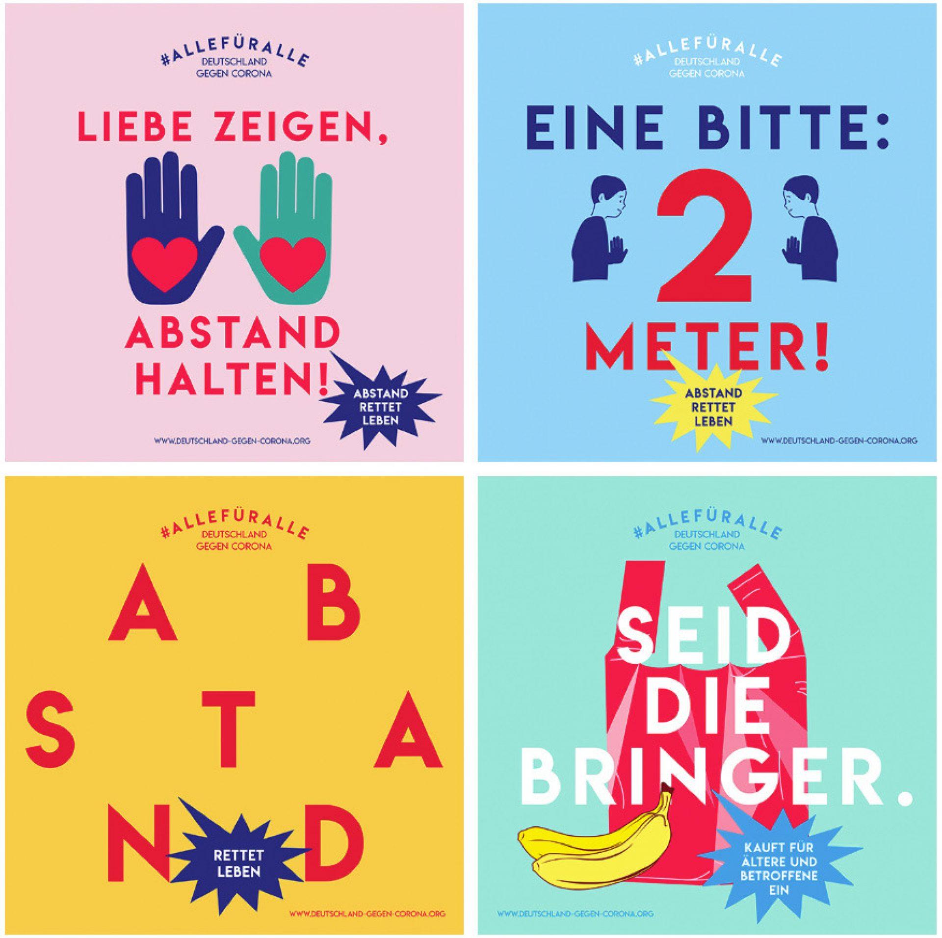 Fischer Appelt Initiative Deutschland Gegen Corona allefueralle Motive Abstand